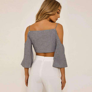 Gingham Strappy Cold Shoulder Front-tie Bell Sleeve Crop Top - Lupsona