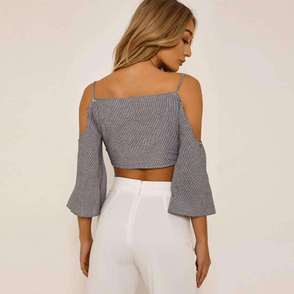 Gingham Strappy Cold Shoulder-halssierkous Bell Sleeve Crop Top - Lupsona