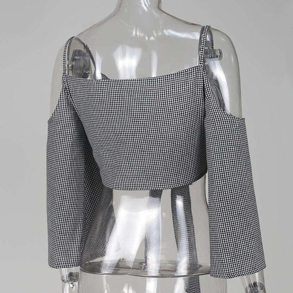 Gingham Riemchen Cold Shoulder Front-Riegel Bell-Hülsen Crop Top - Lupsona