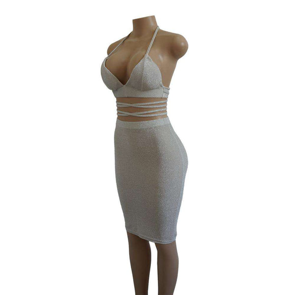 Glitter Cross-body Bandage Halter Dress Set - Lupsona