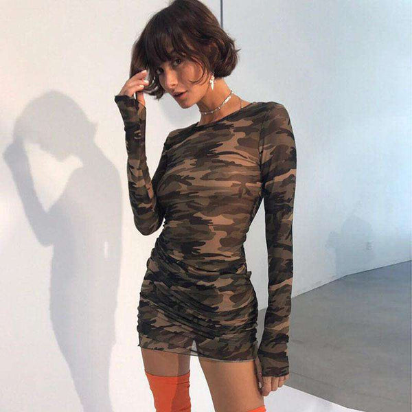 long sleeved camourflage sheer slim mini dress