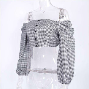 Gingham Off-shoulder Lantern Sleeve -kasvot - Lupsona