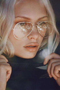 Retro Metallic Frame Aviator Brëllen