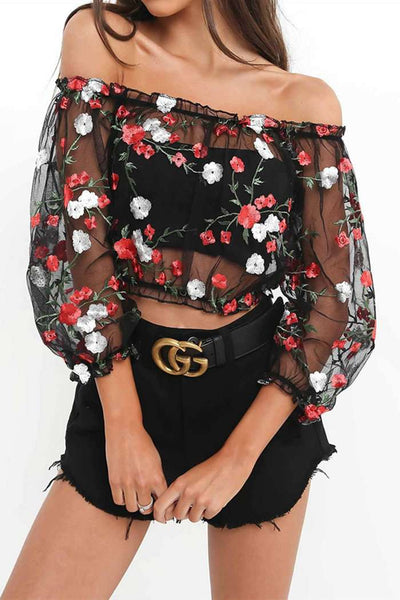 Flower Vezenje Sheer Mesh Crop Top - Lupsona