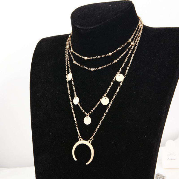 Crescent Pendant Multi-layer Neckarbone Necklace - Lupsona