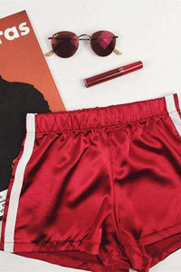 Silky Satin Two Lines Sports Casual Shorts