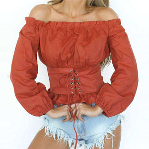 Corset Belt Embellished Off-shoulder Blouse - Lupsona