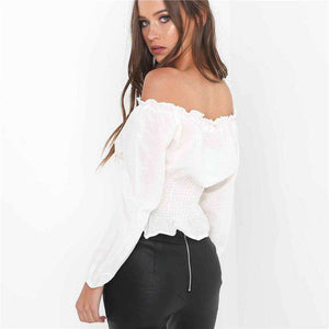 Corset Gürtel Embellished Off-Shoulder Blouse - Lupsona