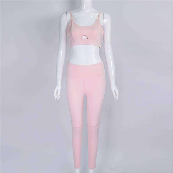 Pink Hollow Out Skinny Sports Set