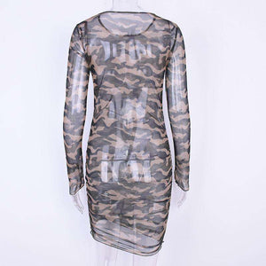 langer sleeved Camouflage Sheer Slim Mini Kleed