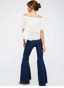 Chic high waist Bell-dno Denim Jeans - Lupsona