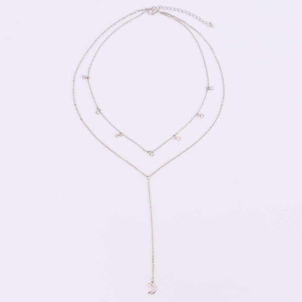 Boho Multi-layer Moon Hängsmycke Halsband Set - Lupsona