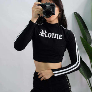 Gothic Róm Prenta Stripes Long Sleeve Crop Top - Lupsona