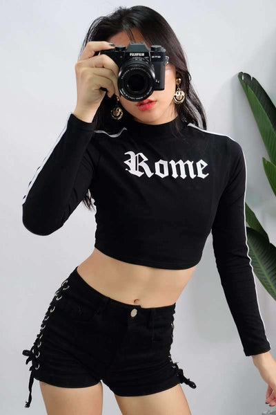 Gothic Rome Print Stripes Long Sleeve Crop Top - Lupsona