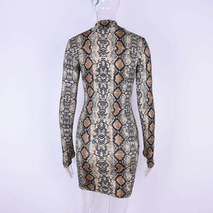 Snake Print Long Sleeve Bodycon Kleed
