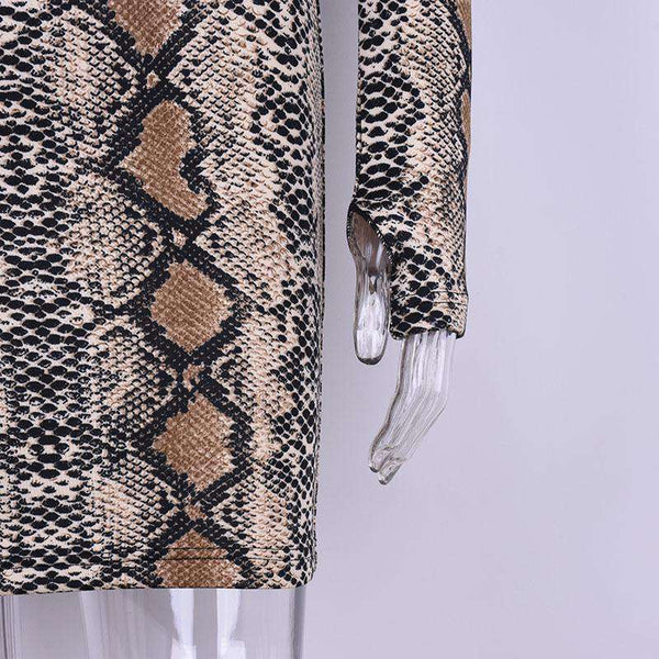Snake Print Long Sleeve Bodycon Dress