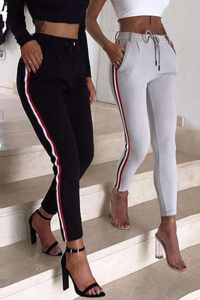 Sporty Side Lines High Waisted Pencil Pants