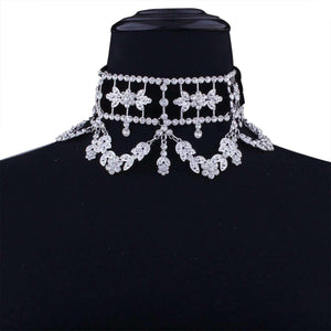 Luxus Party Fine Diamant Blummen Halsketten Choker