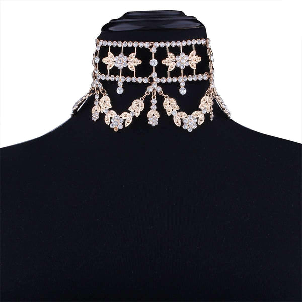 Luxury Party Fine Diamond Floral Necklaces Choker