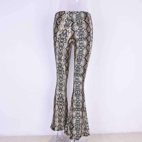 Boho Snake Print Bell-bottoms Flared Pants - Lupsona
