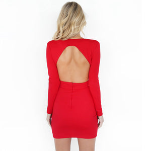 grime dyb V backless langærmet bodycon kjole - Lupsona