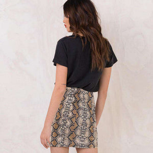 Snake Print Package Hip Mini Sukně - Lupsona