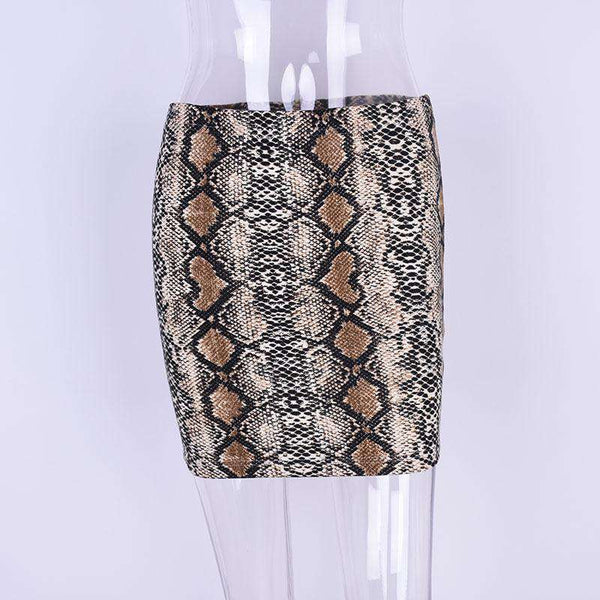 Snake Print Package Hip Mini Skirt