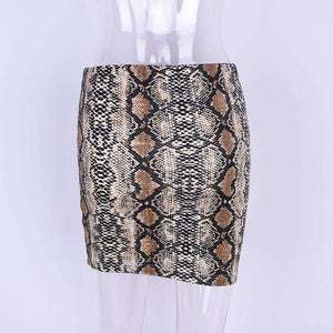 Snake Print Package Hip Mini Skirt - Lupsona