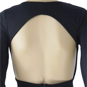 grime dyb V backless langærmet bodycon kjole