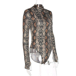 Snake Print Turtleneck Bodysuit Top - Lupsona