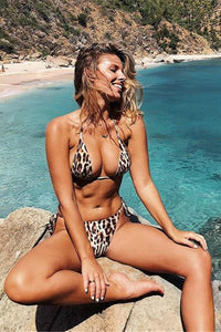 Leopard Tie-up 2 Pieces Bikini Set
