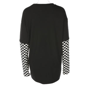 sweat-shirt ample imprimé flammes et damier - Lupsona