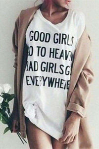 Good Girls Bad Girls Letters Trykt Løst T-skjorte - Lupsona