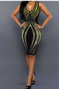 Neon Geometresch Dréckerei Bodycon Party Kleed - Lupsona