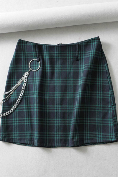 Street Chic Plaid Pattern High Waist Skirt