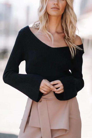Simple V Neck Flare Sleeve Crop Sweater