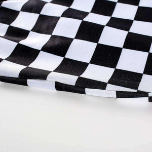 Cool Checker Natisni Crop Tube Top - Lupsona