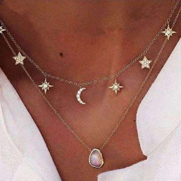 Double-layers Moon and Stars Gem Pendant Necklace - Lupsona