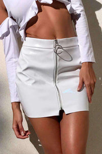 Patent Leather Front Zipper Package Hip Skirt
