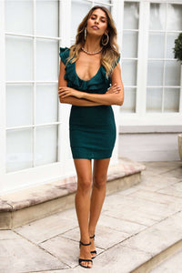 Falbala Bodycon Mini Dress z głębokim dekoltem w szpic - Lupsona