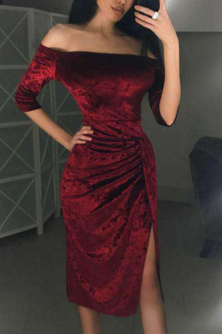 Off The Shoulder Frilled High Slit Uregelmæssig Velvet Dress
