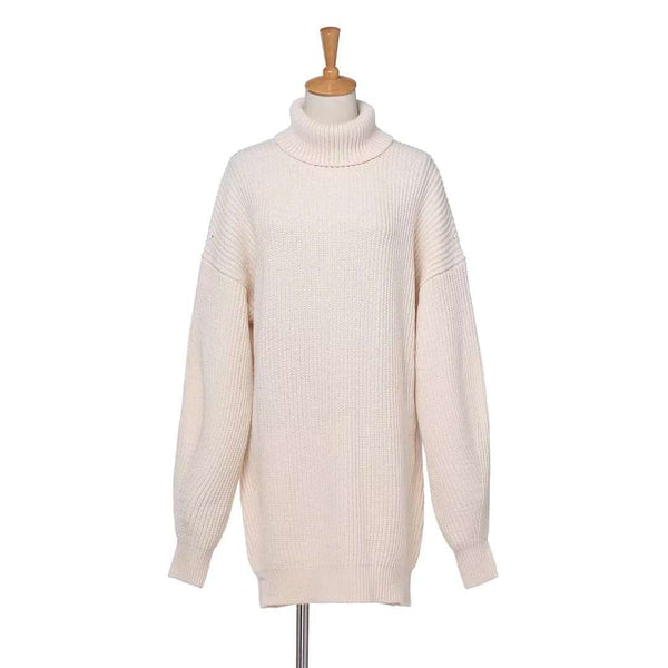 4 Warna Longgar Turtleneck Sweater Dress - Lupsona