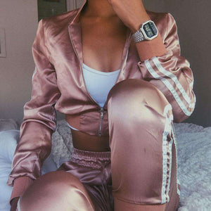 3 colors Silky Side Two Stripes Crop Jacket Joggers Sports Set - Lupsona