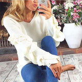 Lotus Sleeved Solid Color Sweater - Lupsona