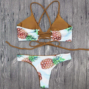 Pineapple Print 2 pieces Bikini Set - Lupsona