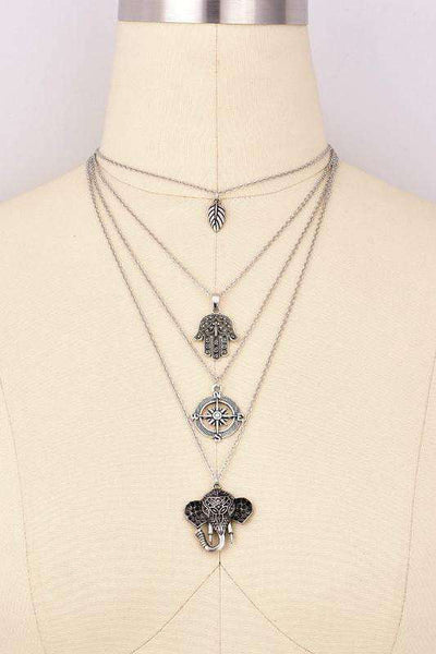Boho Palm Compass Elephant Pendant Multi-layer Necklace Set - Lupsona