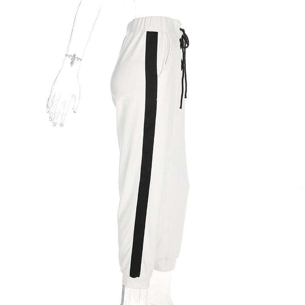 Side Stripes Blanc Sports Pantalon lâche