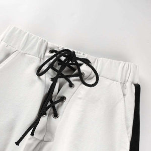 Side Stripes White Sports Loose Pants