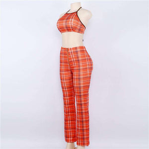 tartan halter tank top pants set - Lupsona