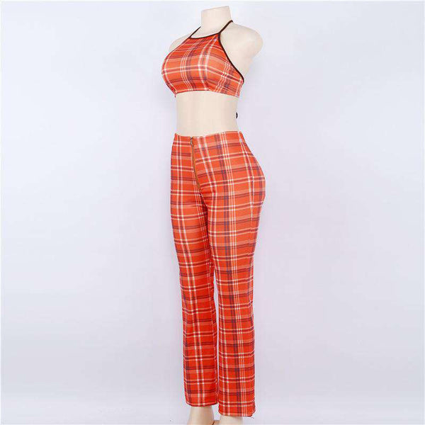 tartan halter tank top pants set